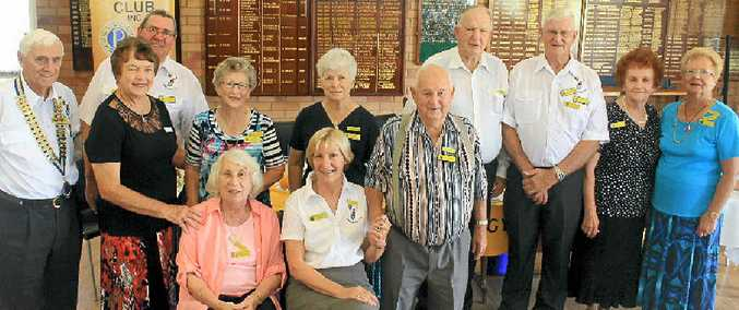 BIG YEAR AHEAD: Looking forward to another successful year are Probus members (standing left) Greig Nissen, Pam Carlson, Maurie Wright, Beth Spacie, Coral Stancombe, Alex Robertson, Dudley Fisher, Bevan Nahrung, Estelle Robertson, Joy Telfer, (seated) Marjorie Head and Thea Nissen. BELOW: New president Greig Nissen and Wide Bay Probus liaison officer Pam Carlson.
