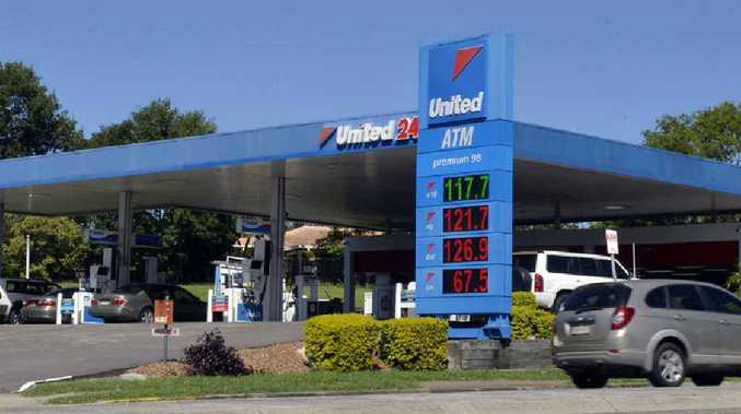 An alleged robber targeted the United service station at Booval.