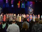 GRADUATION DAY: Academics and university staff at the 2015 CQUniversity Graduation ceremony. Photo: Max Fleet / NewsMail