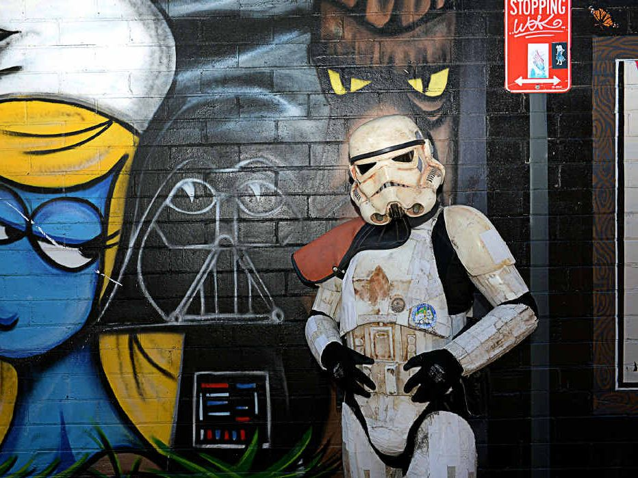 MAY THE FORCE BE WITH HIM: Scott Loxley has been walking around Australia in a Star Wars stormtrooper outfit for the past 18 months to raise money for Monash Children's Hospital in Melbourne.