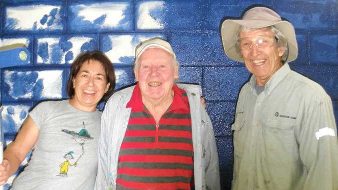 RARING TO GO: Jenny Fournier, Michael Harrigan and David Viner are ready to start painting at Creative Gladstone.