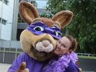 Epilepsy Queensland's mascot Little Poss with client services co-ordinator Yvette McMurtrie who is encouraging people to learn more about epilepsy.