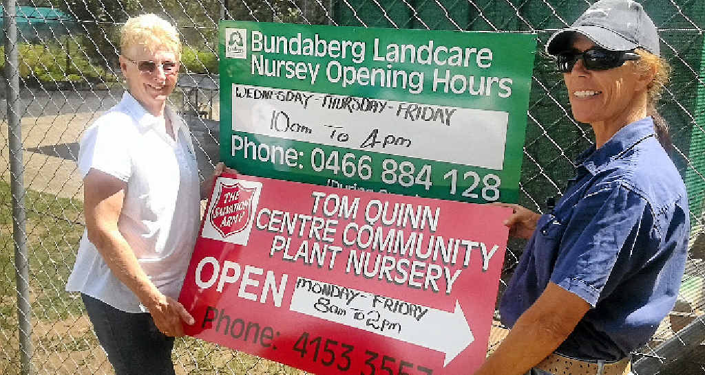 IN BUSINESS: Bundaberg Landcare nursery manager Carol Anderson and Tom Quinn Plant Nursery manager Ann Davis are excited the Bundaberg Landcare nursery has officially reopened.