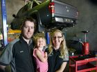 WELL DONE: Shift Automotive Bundaberg owners Brad and Kristin Trimble, with daughter Lilly, have been nominated as one of the top ten mechanics in the region by NewsMail Facebook readers.