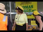 The Knitting Nannas against Gas talking about their protest permit with a council officer on March 26, two days before the NSW election.