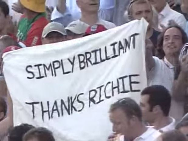 A sign waved for Richie Benaud when he gave his final commentary during the 2005 Ashes in the UK.