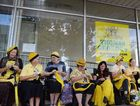 STAYING PUT: The Knitting Nannas in front of Thomas George office in Lismore have been asked to move by the police.