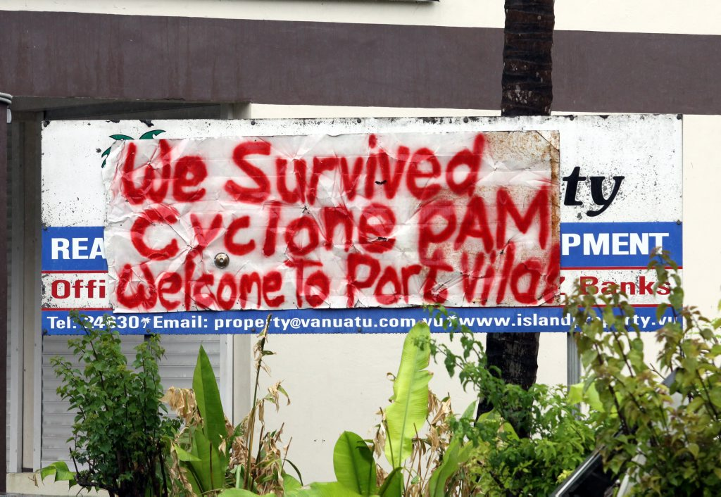 We survived Cyclone Pam. Vanuatu aftermath from Cyclone Pam. Photo Vicki Wood / Caboolture News