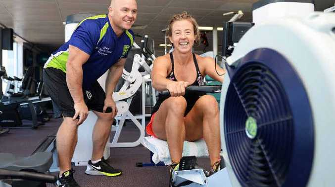 LIVE LONGER: Steve Fettell, owner and trainer at the 24/7 Riverside Fitness, with Sally Swalling, of Lennox Head. New research has found that intensive exercise helps people live longer.