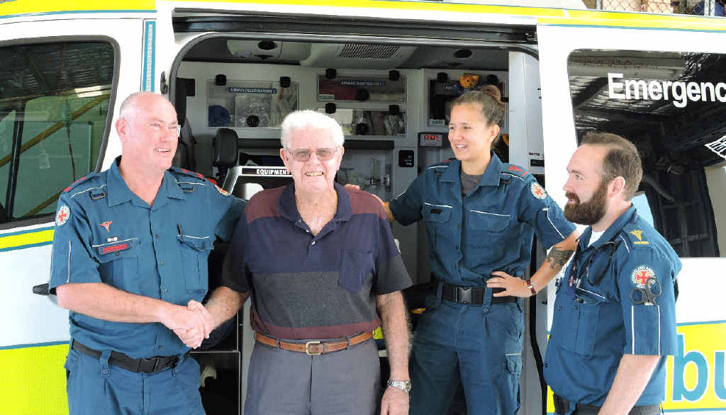 THANKFUL: Raymond Jackson met with the paramedics he credits with saving his life, Ross Kerswell, Cynthia Bein and Adam Gett.