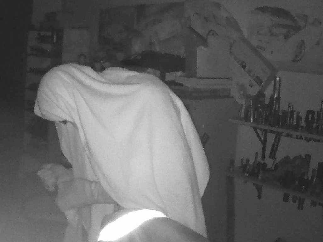The image emailed to Chris Engineering co-owner, showing a robber in his workshop.