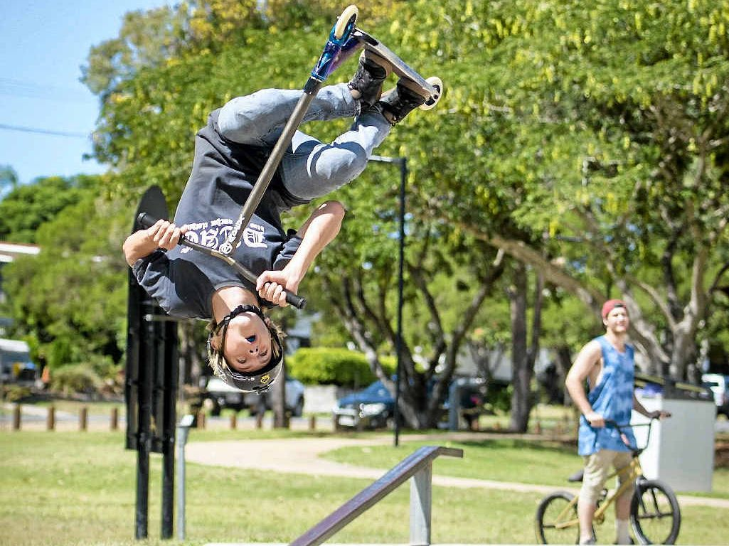 FLIPPED OUT: Jaedyn Absalom, 14, flies high during competition at the Calliope Skate Park on Saturday. The event doubled as a fundraiser for a proposed youth centre.