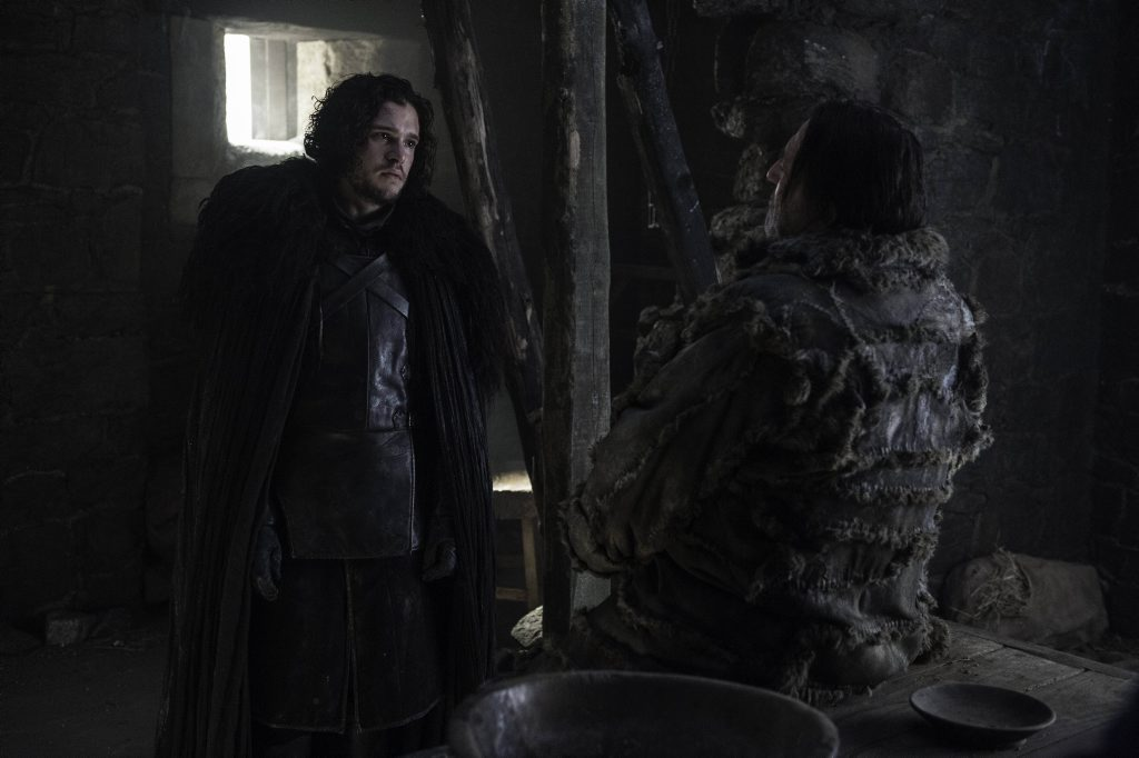 Kit Harington and Ciaran Hinds in a scene from Game of Thrones.