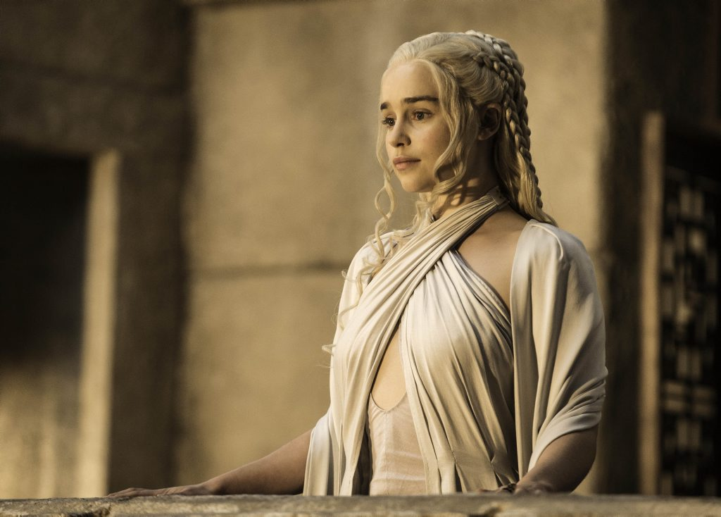 Emilia Clarke in a scene from the fifth season of the TV series Game of Thrones.