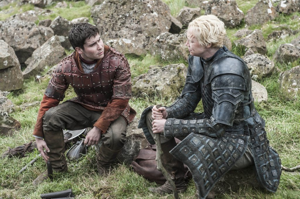 Daniel Portman and Gwendoline Christie in a scene from Game of Thrones.