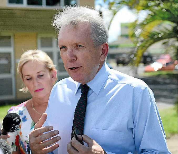 VISIT: Opposition health spokesman Mark McArdle and Ros Bates in Bundaberg.
