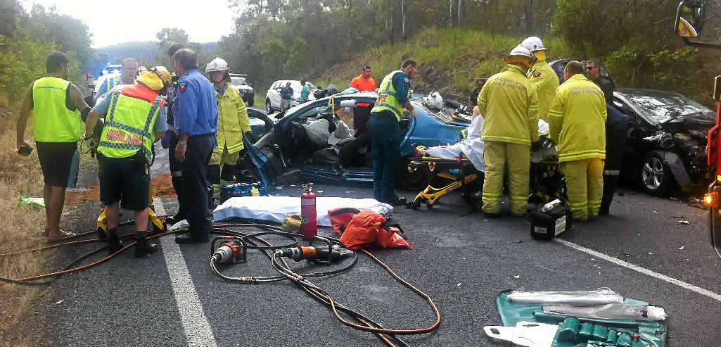 CRITICAL: A woman was flown to Brisbane in a critical condition after this four-car crash north of Gympie.