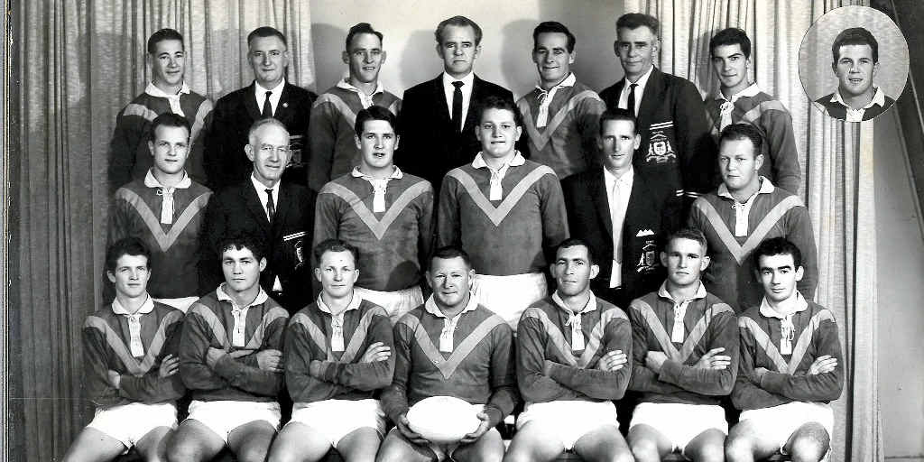 WANDERERS FOOTBALL CLUB – 1965 Senior Premiers: (Back, from left) T Dan, president J Steele, D Geary, patron J Gavin, A Geary, selector K Geary, T Heiniger. (Middle) H Daly, J Stokes, B McTaggart, O Miles, selector S Mackay, D French. (Front) M Rowlands, W Hartwig, vice captain D Maher, captain R Coleman, G Baumann, E Schmidt. I Alexander. (Inset) L Daly.