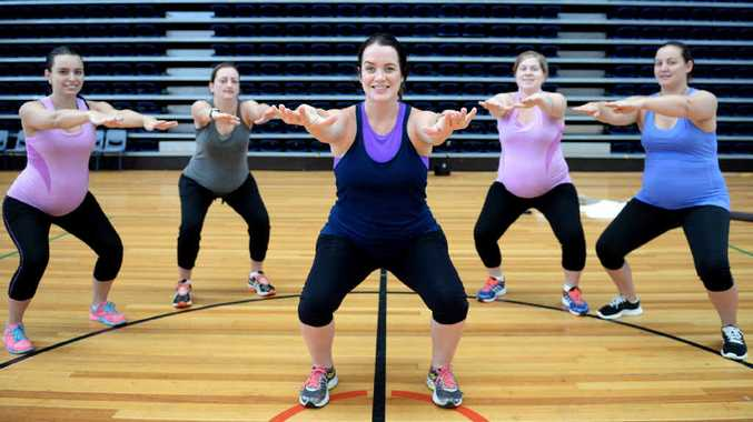 EXERCISE FOR THOSE EXPECTING: Haylee Sonter, Janine Smith, Emma Fisher (centre), Olivia Mogg and Kylie Hoare are some of the expectant mums who have been taking part in the Fit4Two Program, which helps pregnant women maintain their recommended fitness levels.