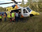 A 36-year-old man is in hospital after breaking his leg at a motorcross park south west of Ipswich on Sunday.