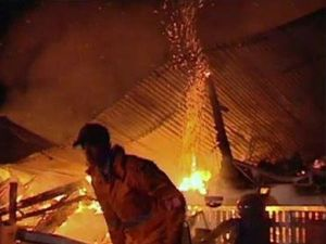 Firefighters battle a blaze at Brymaroo, north-west of Toowoomba. Photo Nine News