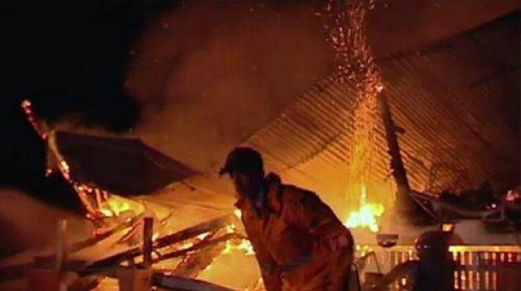 Firefighters battle a blaze at Brymaroo, north-west of Toowoomba. Photo Nine News