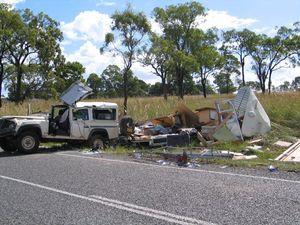 Four-wheel drive towing caravan crashes at Biggenden
