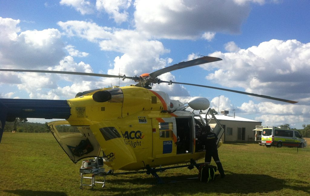 ROGUE COW: A man was airlifted after a cow stood on him.
