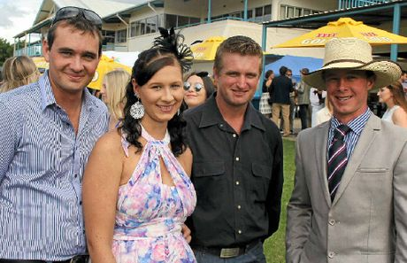DAY OUT: Nick Frahm, Tania Clem, Will Dumesny and Ewan Rockemer enjoy each other's company at the weekend races in Gympie.