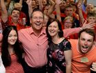 LABOR VICTORY: Jim Madden celebrates winning the seat of Ipswich West with family and friends.