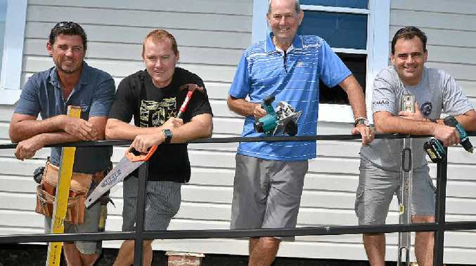 TOOLS READY: Matt Harper, Coady Strong, Warwick Strong and Brody Aleckson are going to help rebuild Vanuatu. Missing from the picture are Paul McKendrick and Oliver Strong.