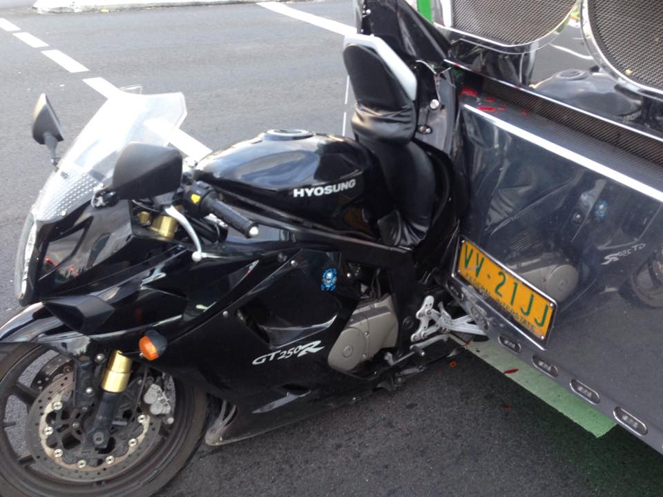 A photo taken by the rider Scott Selwood showed just how close the b-double came to him.