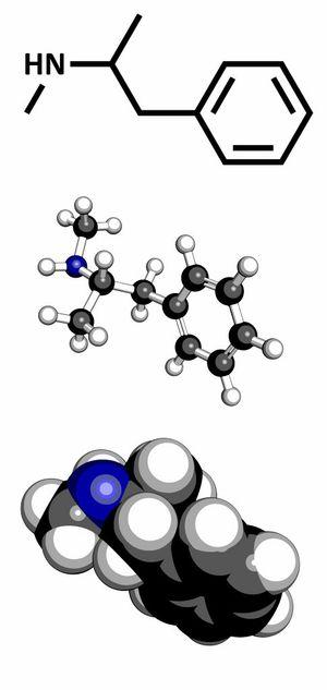 methamphetamine (crystal, meth) psychostimulant drug molecule.