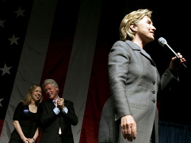 Democratic presidential hopeful Hillary Clinton, with former president and husband Bill Clinton and daughter Chelsea.