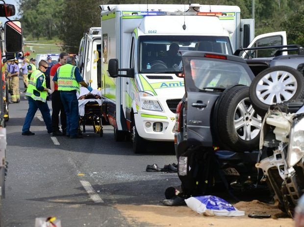 Three cars were involved in a serious accident on the Brisbane Valley Highway near Fernvale. Photo: David Nielsen / The Queensland Times