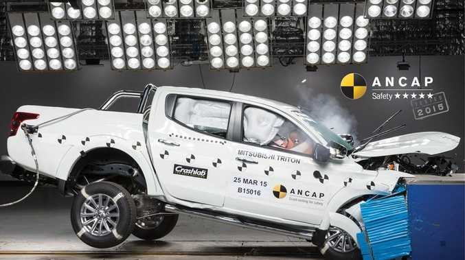 The 2016 Mitsubishi Triton during crash testing.