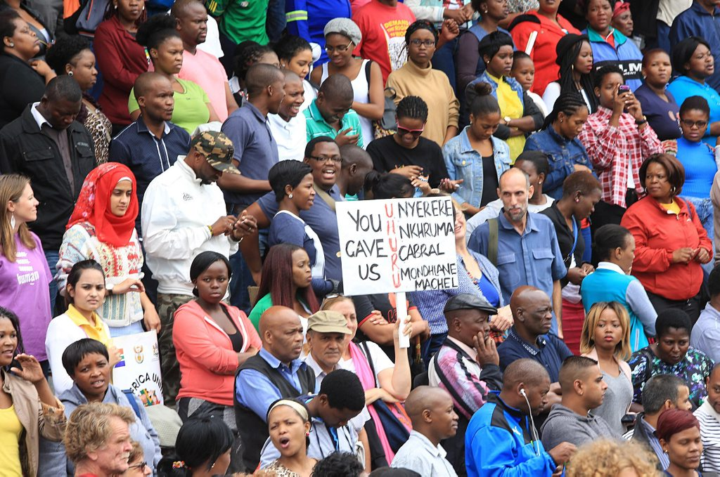 A peace march against xenophobia takes place in Durban, South Africa, Thursday, April 15, 2015.