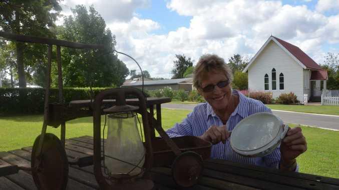 President Roslyn Gregor of Ringsfield House gets ready for the garage sale. Photo Rhiannon Tuffield / South Burnett Times