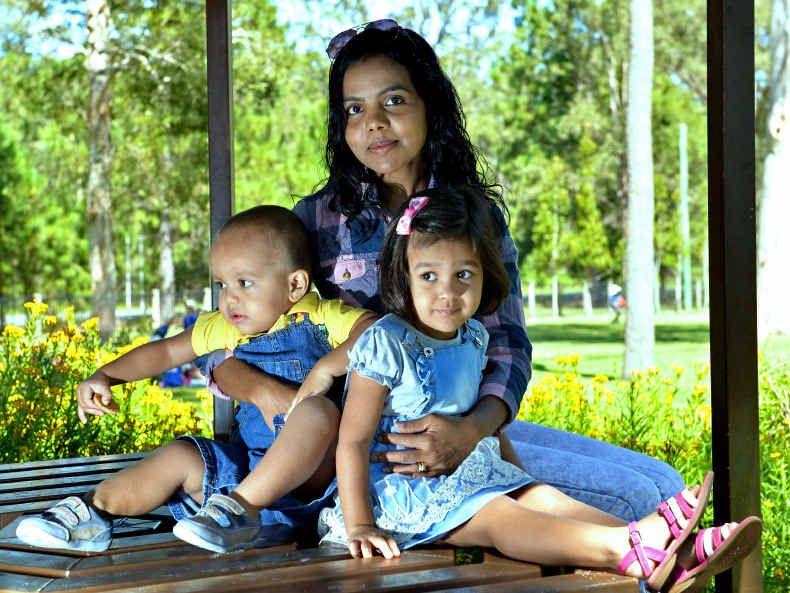 MISSING THEIR MAN: Thushari Ponnamperuma and her children, Jazz and Jayden Jacenko.