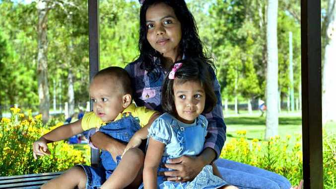 MISSING THEIR MAN: Thushari Ponnamperuma and her children, Jazz and Jayden Jacenko.