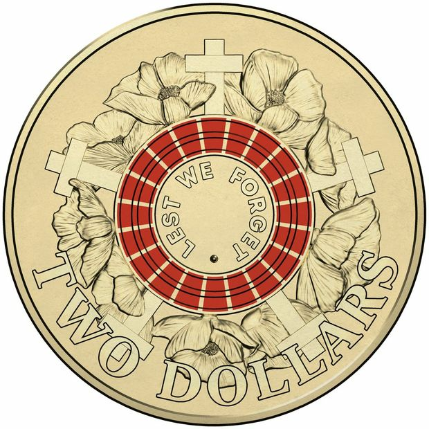 A NEW $2 coloured coin will be put into circulation Monday, April 19 2015, as part of the Royal Australian Mint's Anzac Centenary Coin Program. Picture: Supplied