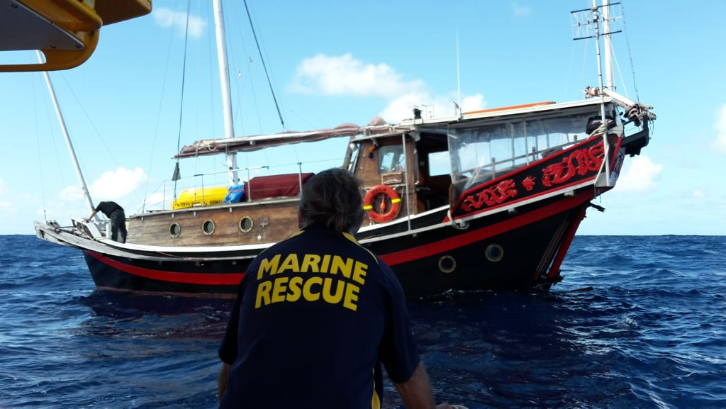 JUNK RESCUE: A rescue conducted offshore by Bundaberg VMR of a Chinese Junk Vessel over the weekend. Photo: contributed