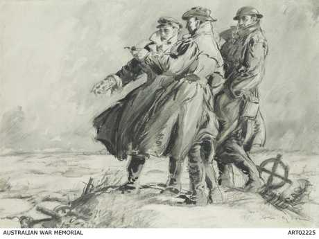 A meeting of minds ... 'Going Over the Old Ground with B...' by Will Dyson in charcoal, brush and ink, depicting war historian Charles Bean at centre with an officer and soldier in France, 1917. Courtesy of Australian War Memorial ART02225