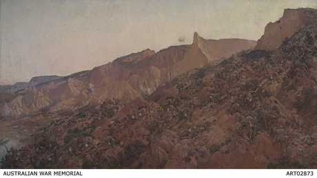 'Anzac, The Landing 1915' , the famous oil on canvas by George Lambert, depicting Australian troops climbing the steep ridges and hillsides of the Gallipoli Peninsula up to Plugge's Plateau, The Sphinx, Walker's Ridge and Baby 700 on April 25, 1915. Courtesy of Australian War Memorial ART02873