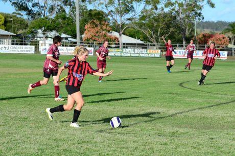Eyes on the goal, Courtney Thompson steams forward. Photo Keagan Elder / South Burnett Times