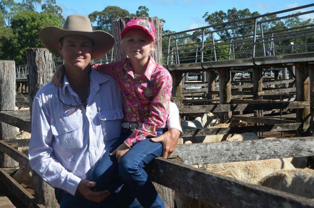 Coolabunia Saleyards: Murray Lord and daughter Abbie-Jane. Photo Rhiannon Tuffield / South Burnett Times