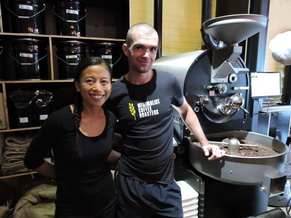 Minimalist Coffee Roasters co-owners Lenni Davis and Denis Trotman.