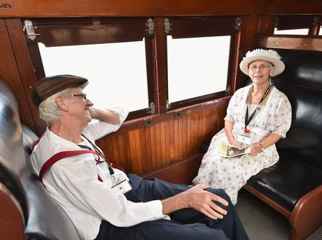 2015 Anzac Troop Train Re--enactment - Winton to Longreach. Irene and Graham Donges from Brisbane. Photo: Alistair Brightman / Fraser Coast Chronicle