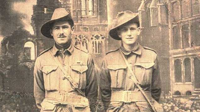 Mark Spencer's great uncle, Arnold Markey, left, pictured with a fellow Anzac. Markey was a First World War stretcher bearer who received the Military Medal for his work in retrieving wounded soldiers from the frontline trenches in France.