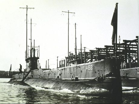 The Australian Navy's second submarine, the AE2, at Garden Island in 1915.